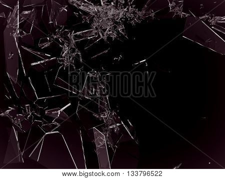 Pieces Of Demolished Or Shattered Glass On Black
