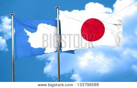 antarctica flag with Japan flag, 3D rendering
