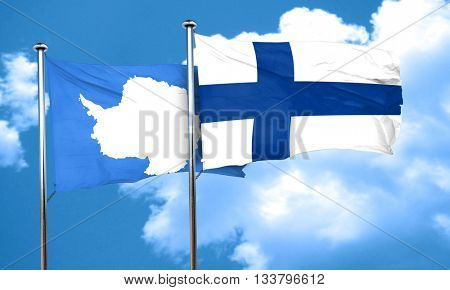 antarctica flag with Finland flag, 3D rendering