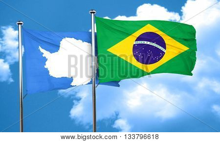 antarctica flag with Brazil flag, 3D rendering