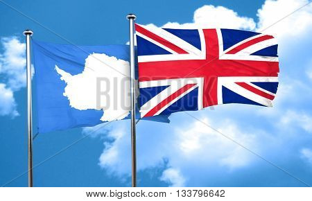 antarctica flag with Great Britain flag, 3D rendering