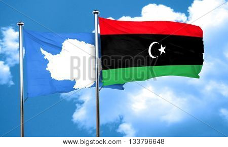 antarctica flag with Libya flag, 3D rendering