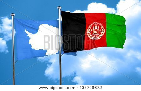antarctica flag with afghanistan flag, 3D rendering