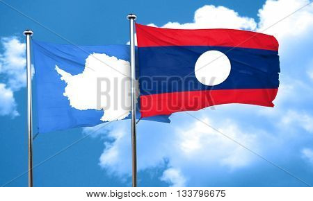 antarctica flag with Laos flag, 3D rendering