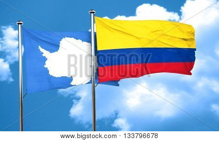 antarctica flag with Colombia flag, 3D rendering