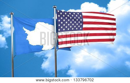 antarctica flag with American flag, 3D rendering