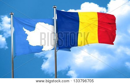 antarctica flag with Romania flag, 3D rendering