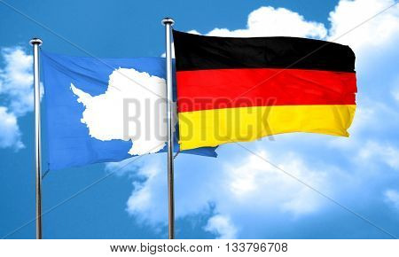 antarctica flag with Germany flag, 3D rendering