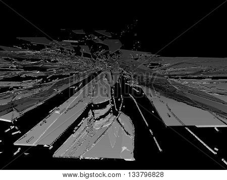 Smashed And Shattered Glass Isolated