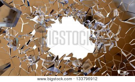Bullet Hole And Pieces Of Shattered Glass