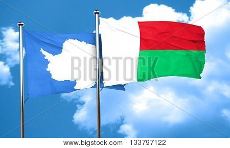antarctica flag with Madagascar flag, 3D rendering