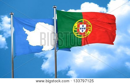 antarctica flag with Portugal flag, 3D rendering