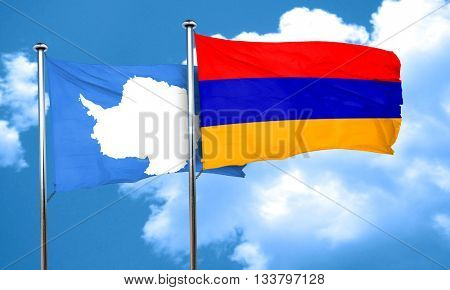antarctica flag with Armenia flag, 3D rendering