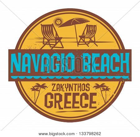 Stamp with words Navagio Beach, Greece, written inside vector illustration