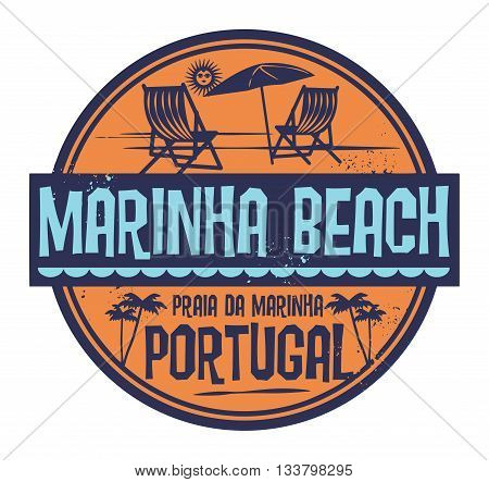 Stamp with words Marinha Beach, Portugal, written inside vector illustration