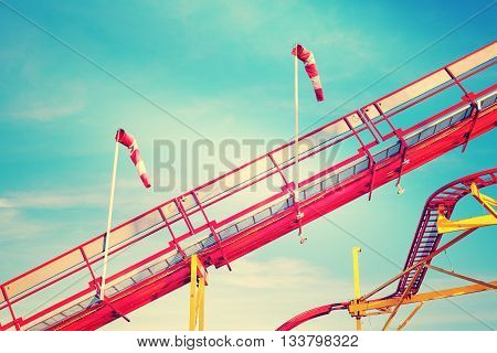 Retro Toned Picture Of Roller Coaster Rails