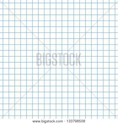 Abstract seamless vector background. School notebook. White sheet blue squared. Pattern background similar to paper