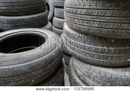 Close Up Stacks Of Old Used Tires For Sale