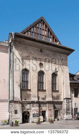 Cracow, Poland - June 6, 2016: Inactive old Orthodox Jewish synagogue in Kazimierz District of Krakow called High or Tall. Built in 16th century.