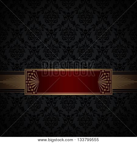 Black and gold vintage background with old-fashioned patterns and decorative gold border.