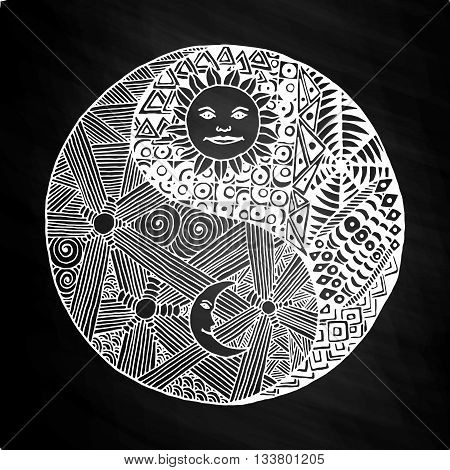 Yin yang to paint in a style doodle, zentangl, sunny day versus moon at night. on white background on chalkboard