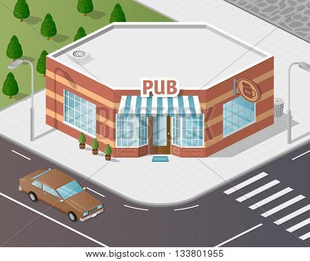 Vector art city, 3d style isometric view, pub