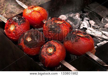 Taste fried vegetables, tomatoes and pepper. Good for vegetarians.