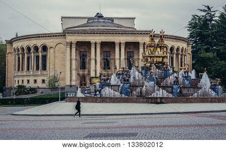 Kutaisi Georgia - April 23 2015. Kolkhida fountain and Lado Meskhishvili Theatre at Agmashenebeli Square
