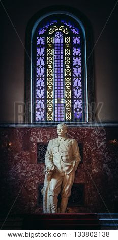 Gori Georgia - April 23 2015. Statue in Museum of Joseph Stalin in his hometown - Gori