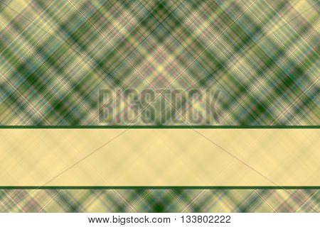 Dark green and vanilla checkered illustration with vanilla colored banner