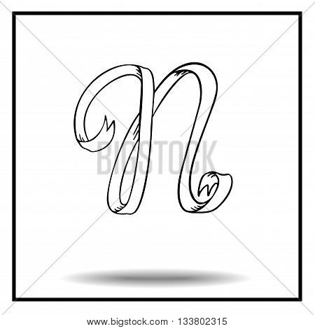 Ribbon alphabet. Ribbon letter. Ribbon N. Display ribbon font. Sketch ribbon latter N.