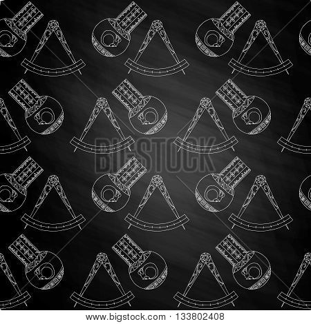 Seamless pattern Alchemy magic sign on chalkboard