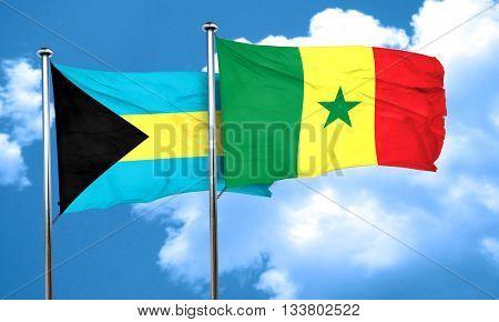 Bahamas flag with Senegal flag, 3D rendering