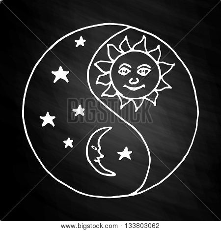 Yin yang to paint sunny day versus moon at night. on white background on chalkboard