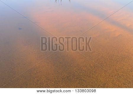 Sandy bottom lake shoreline through the clear water
