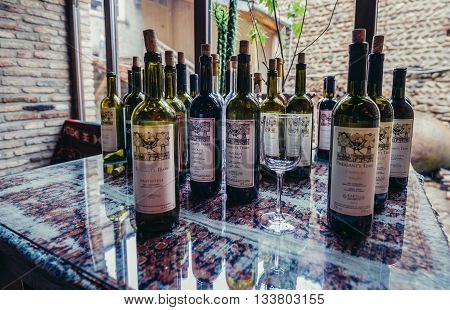 Sighnaghi Georgia - April 24 2015. wine bottles in Pheasant's Tears winery in Sighnaghi small town in Kakheti district