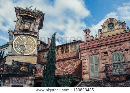 Tbilisi Georgia - April 24 2015. Rezo Gabriadze Marionette Theater tower on the Old Town of Tbilisi