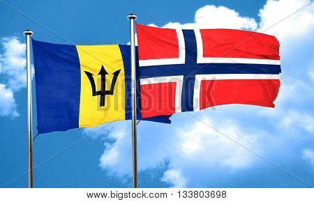 Barbados flag with Norway flag, 3D rendering