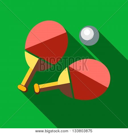 Racket pong table with long shadow. Picture style flat