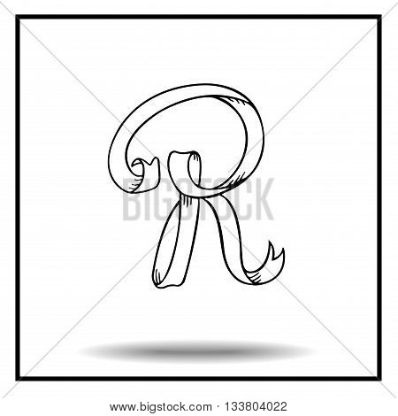 Ribbon alphabet. Ribbon letter. Ribbon R. Display ribbon font. Sketch ribbon latter R.