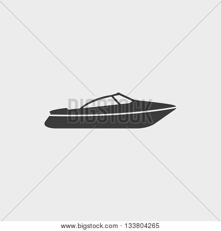 Motor Speed Boat icon in a flat design in black color. Vector illustration eps10