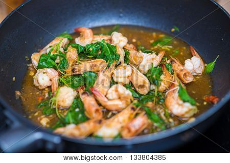 Basil Fried Shrimp Thai Food