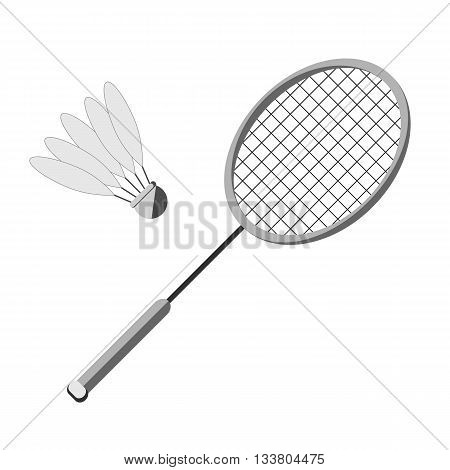 Racket and shuttlecock badminton on a white background. Picture style flat