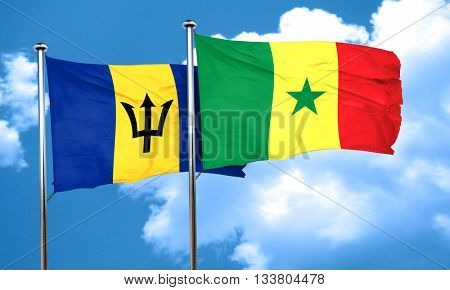 Barbados flag with Senegal flag, 3D rendering
