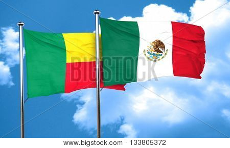 Benin flag with Mexico flag, 3D rendering