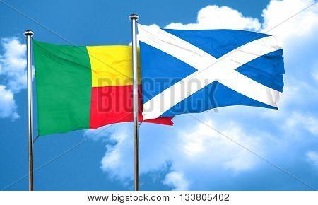 Benin flag with Scotland flag, 3D rendering