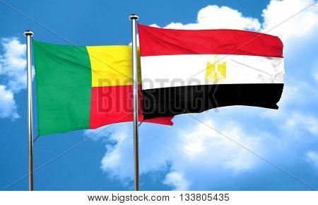Benin flag with egypt flag, 3D rendering