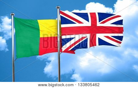 Benin flag with Great Britain flag, 3D rendering