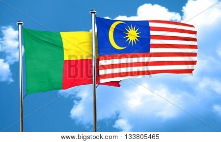 Benin flag with Malaysia flag, 3D rendering