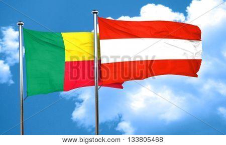 Benin flag with Austria flag, 3D rendering